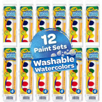 Crayola Washable Watercolors in 8 Vibrant Colors, 12 Paint Sets for Kids, Classroom Supplies, Multi: Toys & Games