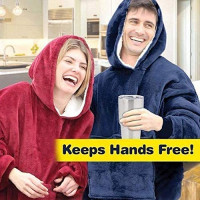 Huggles Hoodie Blanket Hoodie Wool Warm Cloak Sweatshirt Oversized Sherpa Plush Winter, Huggle for Women One Size