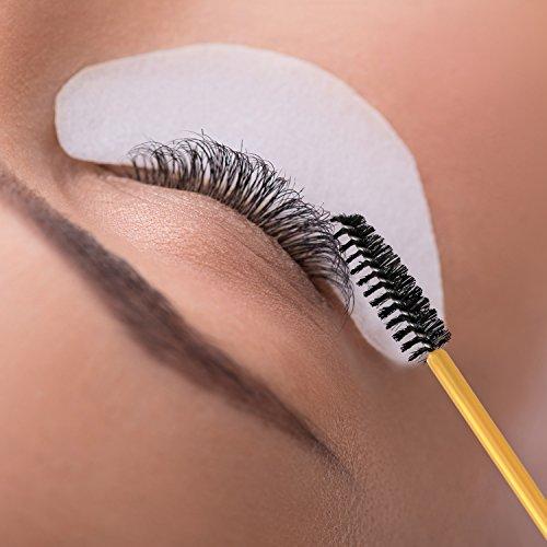 eBoot 300 Pieces Colored Disposable Mascara Wands Eyelash Eye Lash Brush Makeup Applicators Kit (Gold Handle, Multicolor Head): Beauty