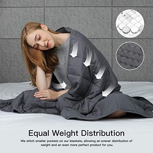 """CHIAVE Weighted Blanket 15 Lbs 48""""x 72"""" Full Size I for Adults and Teens from 125-175 lbs   Plush Minky Removable and Washable Cover - Navy and White: Kitchen & Dining"""