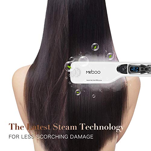 MKBOO Hair Straightener with Steam, Salon Professional Nano Titanium Ceramic Steam Flat Iron with Removable Comb+Digital LCD+5 Level Adjustable Temperature+Auto Temperature Lock White : Beauty