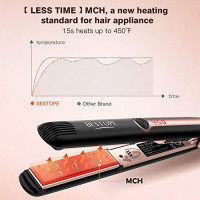 BESTOPE 1 Inch Upgraded Hair Straightener Professional Flat Iron for Hair with MCH Technology and 15s Heats Ceramic Tourmaline Ionic & Anti-static Plate for Fine Wavy Curly Coarse Hair : Beauty