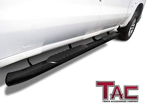 "TAC Side Steps Running Boards Fit 2019-2021 Chevy Silverado/GMC Sierra 1500 | 2020 Silverado/Sierra 2500 3500 Crew Cab Truck Pickup 5"" Oval Bend Black Side Bars Step Rails Nerf Bars (2pcs): Automotive"