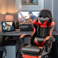 Soontrans Ergonomic Office Chair PC Gaming Chair Racing Chair for Gaming,Computer Chair,E-Sports Chair with High-Back,Adjustable Headrest and Lumbar Support,Retractable Footrest (Brilliant Red): Kitchen & Dining