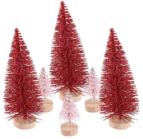 Ioffersuper 12Pcs Mini Sisal Trees with Wood Base Artificial Christmas Pine Trees Bottle Brush Trees for Winter Snow Miniature Scenes DIY Christmas Crafts Xmas Holiday Home Desk Tabletop Decor: Home & Kitchen