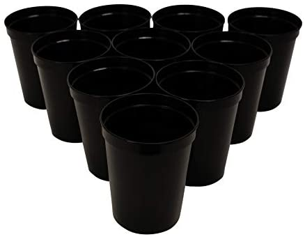 CSBD Stadium 16 oz. Plastic Cups, 10 Pack, Blank Reusable Drink Tumblers for Parties, Events, Marketing, Weddings, DIY Projects or BBQ Picnics, No BPA (Black): Kitchen & Dining