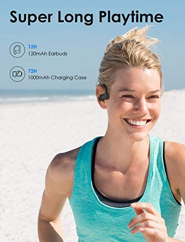 XLEADER SoundAngel Sport3 - Wireless Bluetooth Sport Earbuds IPX7 Waterproof Bass+ Earphones with Mic, TWS Sports Headphones in Ear with Charging Case for Running Workout Fitness Exercise Gym Black: Home Audio & Theater