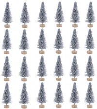 24 Pieces Artificial Mini Christmas Sisal Snow Frost Trees with Wood Base Bottle Brush Trees Plastic Winter Snow Ornaments Tabletop Trees for Christmas Party Home Decoration (Green): Kitchen & Dining