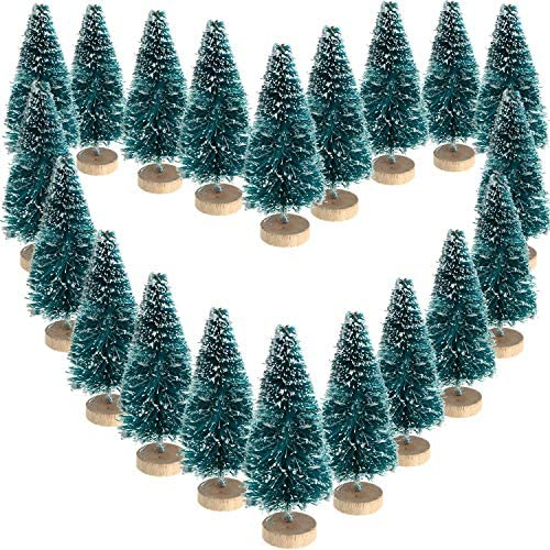 Mini Sisal Snow Frost Trees Winter Mini Pine with Wood Base Bottle Brush Trees Plastic Winter Snow Ornaments Tabletop Trees for Christmas Decoration and Display (48 Pieces, Size 2): Home & Kitchen
