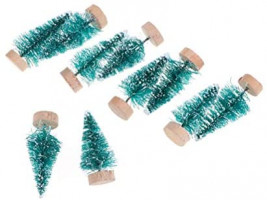 TableRe 50 Pack Miniature Pine Trees Sisal Trees with Wood Base DIY Mini Christmas Trees Desktop Home Decor Christmas Decoration Kids Gift: Home & Kitchen