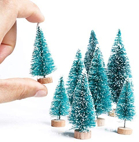 Artificial Mini Sisal Christmas Trees Snow Frost with Wooden Bases for Home Party Decoration Ornament DIY Craft (Blue-Green, 20 pcs): Kitchen & Dining