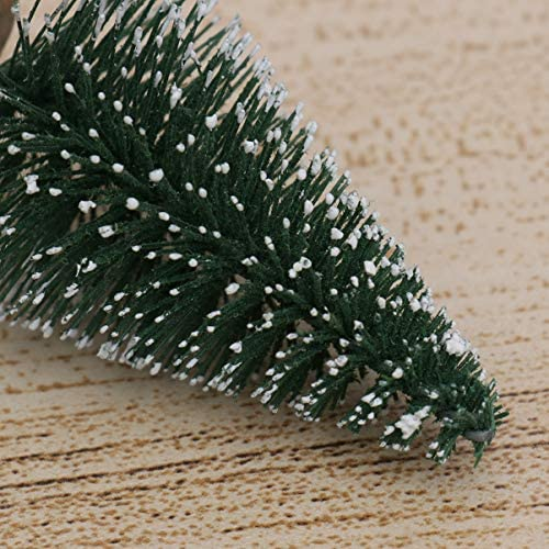 BESPORTBLE Miniature Pine Trees Sisal Trees with Now Covered Pine Wood Base Christmas Tree Set Tabletop Trees for Miniature Scenes, Christmas Crafting and Designing DIY Ornaments for Home Party Bar: Home & Kitchen