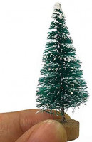 Fashionme Artificial Mini Sisal Pine Snow Frosted Trees with Wooden Base Bottle Brush Trees Plastic Winter Ornaments Tabletop Trees for DIY Crafting Displaying Decoration (Dark Green(Pagoda), 24PCS): Health & Personal Care