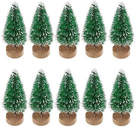 VinBee 20 PCS Artificial Mini Christmas Trees Mini Pine Tree Sisal Trees Miniature with Snow Wood Base Ornaments for Christmas Table Top Decor Winter Crafts (3.35 inch): Home & Kitchen