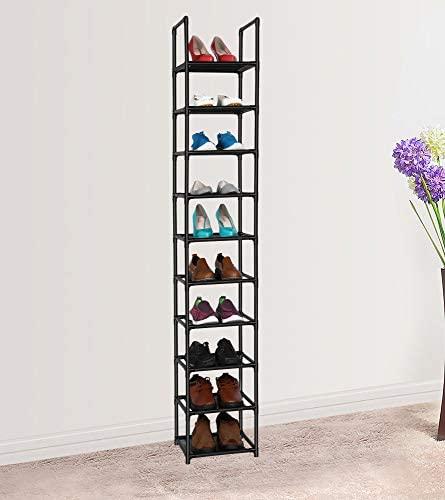 fiducial home 10 Tiers Shoe Rack Space Saving Vertical Single Pairs Sturdy Shoe Shelf Storage Organizer: Home Improvement