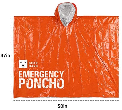 Bearhard Emergency Blanket Rain Poncho |2 Pack Ultralight Waterproof Thermal Survival Space Blanket Ponchos with Hood for Camping Hiking or Emergency Situations: Home & Kitchen