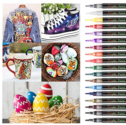 18 Colors Acrylic Paint Pens Set for Rock Painting,Sawake 0.7mm Extra Fine Tip Craft Paint Marker Set,DIY Craft Making Supplies,paint for kids,Quick-Dry,for Rocks Painting Ceramic Markers,Easter egg: Office Products