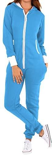 SKYLINEWEARS Women's Fleece Non-Footed One Piece Onesie Adult Hooded Pajamas Ladies Jumpsuits: Clothing