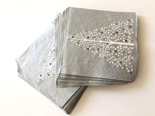 40cts 5x5 | Silver napkins | Christmas Napkins | Decoupage Napkins | Decorative Paper Napkins | Christmas Paper Napkins | Christmas Cocktail Napkins | Gray Cocktail Napkins for Wedding Funeral : Office Products