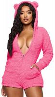 Womens Cartoon Bear Onesise Sleepwear Cute Fuzzy Warm Sherpa Fleece Hooded Romper Short Jumpsuit Playsuit: Clothing