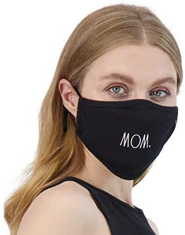 Rae Dunn Face Masks - Reusable Set of 2 - Black - Smile/Be Kind Design - Soft Fabric Cloth with Adjustable Ear Loops - Comfortable Breathable Material for Full Mouth and Nose Coverage: Health & Personal Care