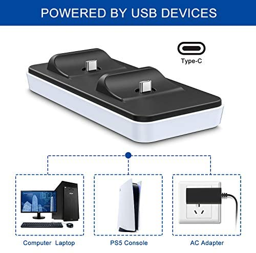Portable Charging Station for PS5 Controller, innoAura Dual PS5 Controller Charger with 2 Removable Type C Charging Port, White: Home Audio & Theater