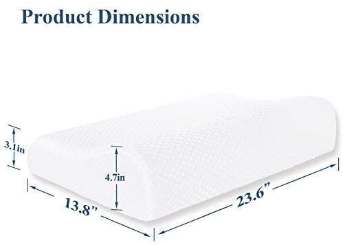 VECELO Memory Foam Contour Pillow, for Side Sleeper-Relieve Neck Pain with Washable Zippered Anti-Dust Breathable Cover-Standard Size for Adult & Children, White: Home & Kitchen