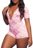 zhangqing Women 's V-Neck Bodysuit Jumpsuits Print Short Onesies Stretch Long Sleeve Pajama Romper: Clothing