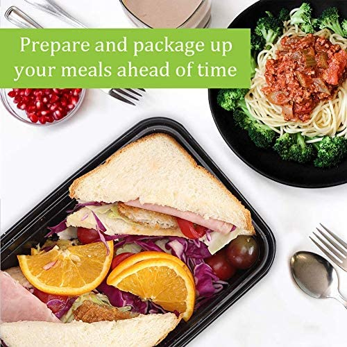 Meal Prep Containers, 50 Pack Food Storage Containers with Lids,Disposable Bento Box Reusable Plastic Bento Lunch Box Microwave/Dishwasher/Freezer Safe (750ML/ 26 OZ): Kitchen & Dining