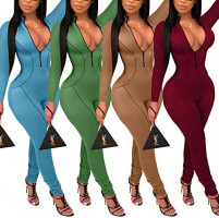 ECHOINE Women's Sexy Zip Up One Piece Outfits Deep V-Neck Long Sleeve Bodycon Long Pants Party Clubwear Jumpsuit Romper: Clothing