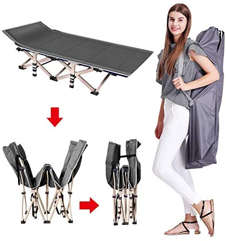 Lilypelle Folding Camping Cot, Double Layer Oxford Strong Heavy Duty Sleeping Cots with Carry Bag, Portable Travel Camp Cots for Home/Office Nap and Beach Vacation (Gray with Mattress): Sports & Outdoors