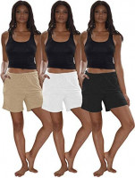 Sexy Basics Women's 3 Pack Cotton Sleep Pajama Shorts with Pockets & Drawstring at Women's Clothing store