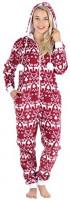 Frankie & Johnny Women's Fleece Non-Footed Onesie Loungewear Pajamas: Clothing