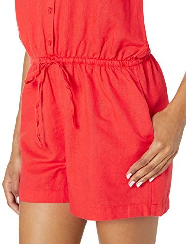 Brand - Goodthreads Women's Washed Linen Blend Button Front Romper: Clothing