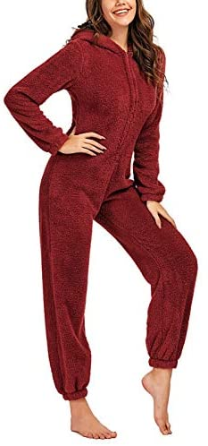 chouyatou Women's Ultra Comfy Lounge Furry Sherpa Romper Onesie Pajamas Cute Ear Hood: Clothing