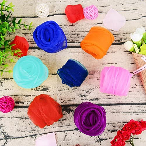 TecUnite 20 Pieces Square Dance Scarf Silk Magic Scarves and Juggling Scarves, 24 by 24 Inch (20 Colors): Toys & Games