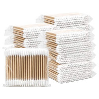 Hedume 2000 Pieces Wooden Cotton Swabs, Double Pointed Cotton Buds (20 Packs, 100 Pieces 1 Pack) : Beauty