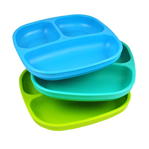 Re-Play Made in USA 3pk Divided Plates with Deep Sides for Easy Baby, Toddler, Child Feeding - Sky Blue, Aqua, Lime Green (Under The Sea) : Baby