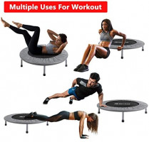 """BCAN 38"""" Foldable Mini Trampoline, Fitness Trampoline with Safety Pad, Stable & Quiet Exercise Rebounder for Kids Adults Indoor/Garden Workout Max 300lbs - Grey : Sports & Outdoors"""