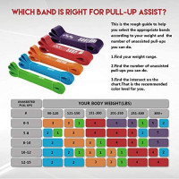 SUNPOW Pull Up Assistance Bands - Set of 5 Resistance Heavy Duty Workout Exercise Crossfit Stretch Fitness Bands Assist Set for Body, Instruction Guide and Carry Bag Included : Sports & Outdoors