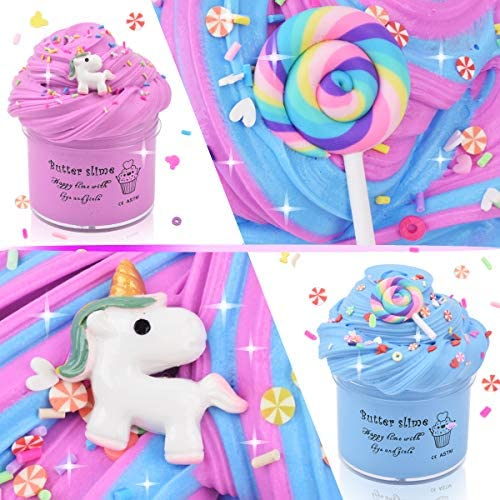 Unicorn Butter Slime Pink Purple Colors with Sprinkles, Blue Candy Slime with Fimo Slices, Birthday Cake Cotton Mud Premade Slime Kit Scented DIY Sludge Toys Party Favors for Girl Boy, 2 Pack: Toys & Games