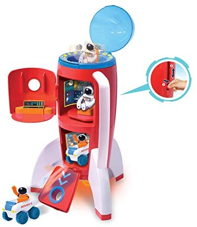 Astro Venture Spaceship Rocket Toy Playset with 2 Astronauts and Rover Vehicle - Lights and Sound Effects, Plus Carrying Handle for Blasting to The Moon and Flying Back - Play and Explore Space Toys: Toys & Games