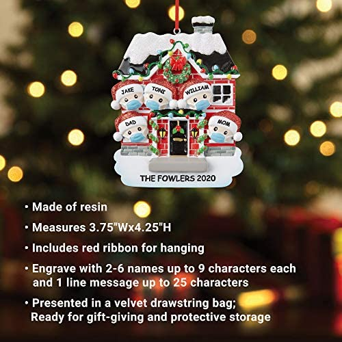 """Let's Make Memories - Personalized Family Christmas Ornament - Stay Home, Stay Safe - Family with Masks Quarantine Holiday Ornament - Six Family Members - 3.75""""x4.25"""": Home & Kitchen"""