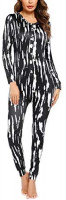 Hotouch Womens One Piece Pajama Union Suit Thermal Underwear Set Sleepwear Pajama Jumpsuit Union S-XXL at Women's Clothing store