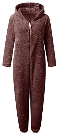 VEKDONE Women Winter Warm Sherpa Romper Fleece Onesie Pajama One Piece Zipper Hooded Jumpsuit Sleepwear Playsuit at Women's Clothing store