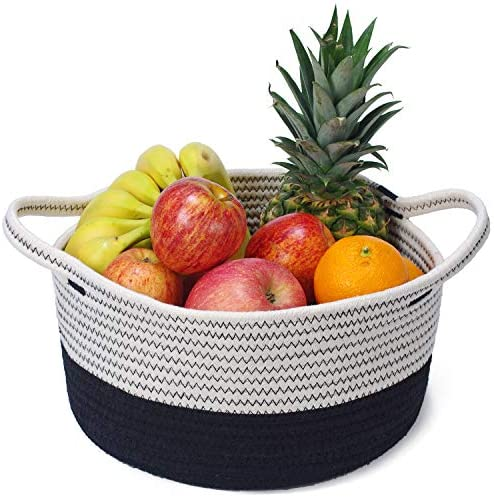 Decorative Coiled Rope Basket, Small Size Cotton Woven Storage Basket for Home Organization, 12 x 6 inches: Home Improvement