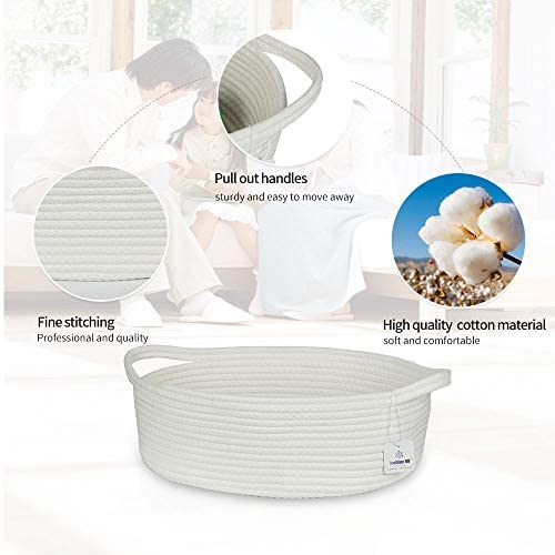 ICEBLUE HD White Storage Basket 100% Natural Cotton Rope Storage Boxes Toy Bins Childrens Room Decor: Home & Kitchen