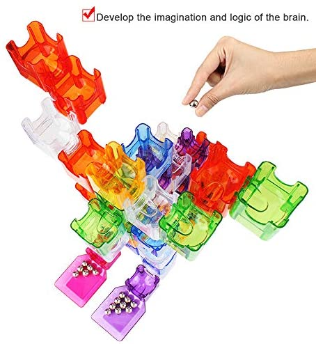 HAIJIN Gravity Maze Marble Run Brain Game and Science Education Logic Puzzle STEM Pipeline Building Blocks Kids Toy,The Best Gift for Boys and Girls,(48 Translucent Marbulous Pieces+15 Marbles): Toys & Games
