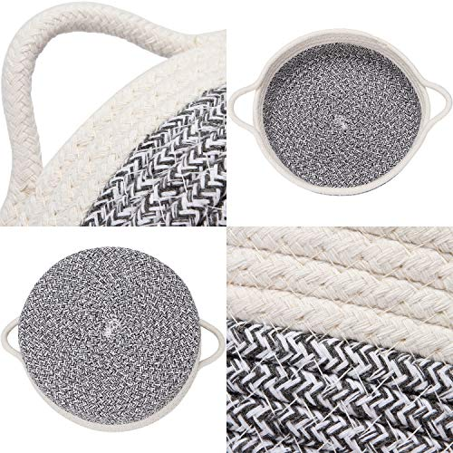 Sea Team 2-Pack Cotton Rope Baskets, 10 x 3 Inches Small Woven Storage Basket, Fabric Tray, Bowl, Round Open Dish for Fruits, Jewelry, Keys, Sewing Kits (Mottled Grey & White) : Baby