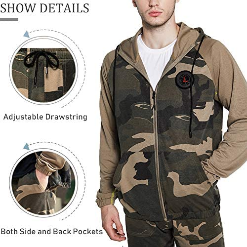 DUOFIER Men's Hooded Athletic Tracksuit Casual Full Zip Jogging Sweatsuits at Men's Clothing store